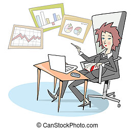 Manager - with laptop, agenda and mobile phone