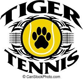 tiger tennis - tribal tiger tennis team design with paw...