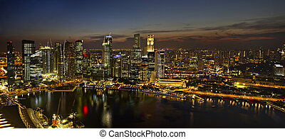 Singapore City Skyline at Dusk Panorama
