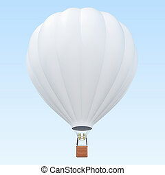 Hot air balloon with basket on skiy background with clouds....