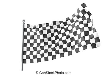 Checkered Flags. Racing flag, 3d rendering isolated on white