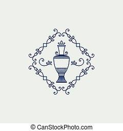 Vintage jug symbol - Vintage ornament with jug geometric...