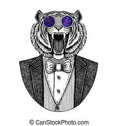 Wild tiger Hipster animal Hand drawn illustration for...