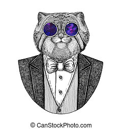 Wild cat Manul Hipster animal Hand drawn illustration for...