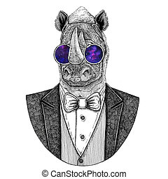 Rhinoceros, rhino Hipster animal Hand drawn illustration for...