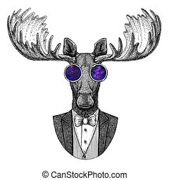 Moose, elk Hipster animal Hand drawn illustration for...