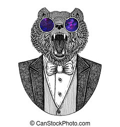 Brown bear Russian bear Hipster animal Hand drawn image for...