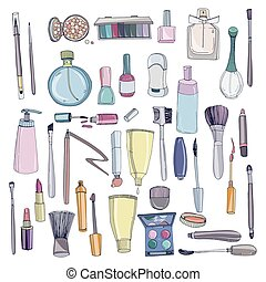 Fashion cosmetics set with make up artist objects. Colorful...