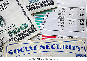charts and social security - social security card, money and...