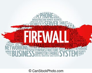 FIREWALL word cloud collage, business concept background