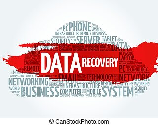 Data Recovery word cloud collage, business concept...