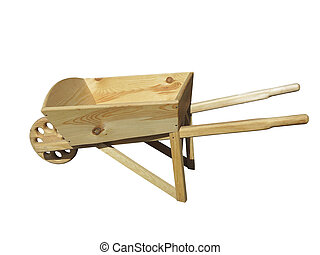 Empty wooden wheelbarrow cart for the garden isolated over white
