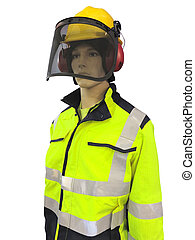 Man mannequin in protective clothes overalls and yellow...