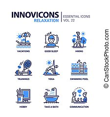 Relaxation - modern color vector single line icon set