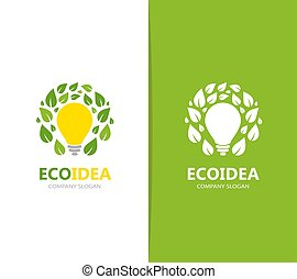 Vector of lamp and leaf logo combination. Idea and eco...