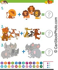addition maths activity for kids - Cartoon Illustration of...