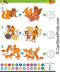 addition maths game for kids - Cartoon Illustration of...