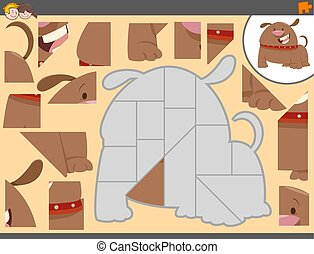 jigsaw puzzle game with dog - Cartoon Illustration of...