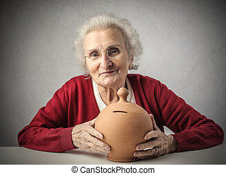Lady with money box - Old lady with money box
