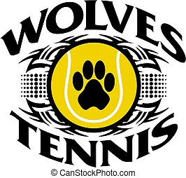 wolves tennis - tribal wolves tennis team design with paw...