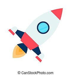 rocket space ship take off, isolated on white background....