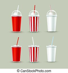 Vector Set of Paper Cups For Soft Drinks - Vector Set of...