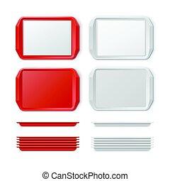 Vector Set of Plastic salver - Vector Set of Rectangular Red...