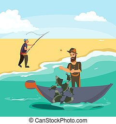 Cartoon fisherman standing in hat and pulls net on boat out...