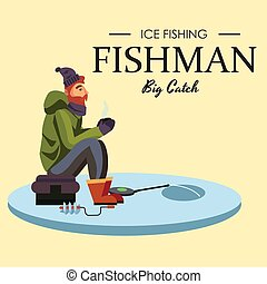 Flat fisherman hat sits on bag with spin fishing rod in hand...