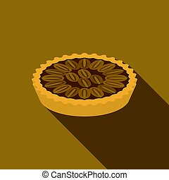 Pecan pie in flat design with long shadow