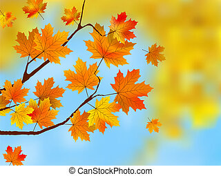 Autumn leaves, very shallow focus EPS 8 vector file included...