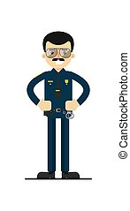 American policeman in uniform vector illustration
