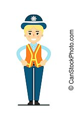 Police woman in uniform vector illustration