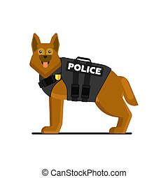 Police dog in uniform vector illustration
