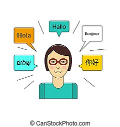 Learn language concept with young girl in glasses vector...
