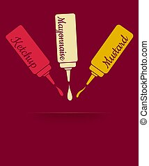 Ketchup, mayonnaise and mustard - Vintage vector...
