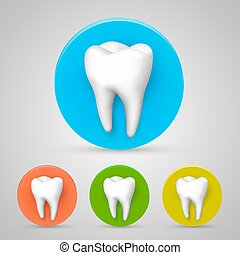 Tooth set color collection, template design element, Vector illustration