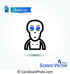 Alien icon . Scientific vector .