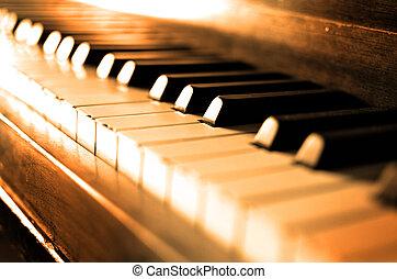 Old Vintage Piano Keys Ebony Ivory Black White