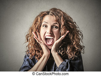 Suprised woman - Woman being suprised and excited