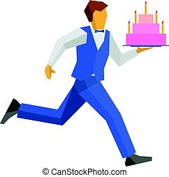 Waiter in blue runs with a cake on a tray