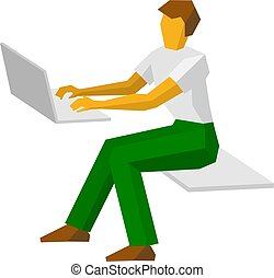 Man in white t-shirt and green trousers working at a laptop