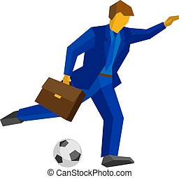 Businessman football player running with the ball