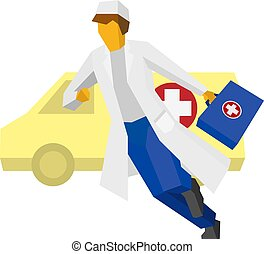 Hurrying doctor with ambulance car at the back