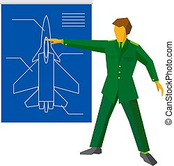 Military man show blueprint with aircraft fighter.
