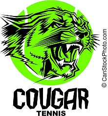 cougar tennis team design with mascot head inside ball for...