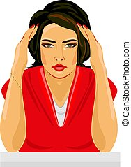 Young woman depressed and crying. Vector illustration
