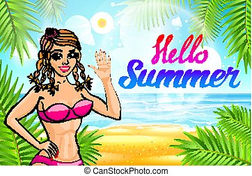 vector Hello summer lettering and Woman on of the Sea Beach and Takes Sunbath. Bikini gir. pinup vintage poster