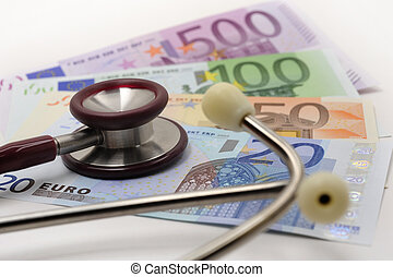 medical stethoscope on euros