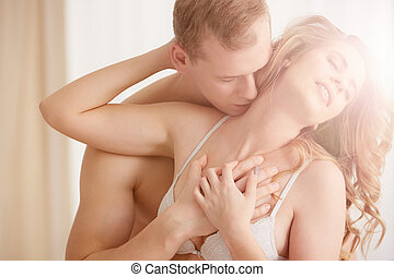 Couple in sexual embrace - Hot erotic couple in sexual...